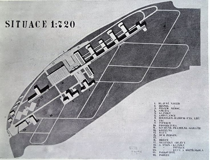 The winning proposal of a 2,000-bed Clinical Hospital in Prague, Motol, by the architects F. Cermak & G. Paul from 1937. Source: Ceskoslovenska nemocnice, 6:7, 1937, p. 123
