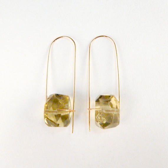 Faceted citrine earrings Rough citrine earrings Gemstone