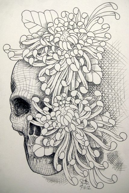 Chrysanthemum Tattoo, would look better with roses, like how the skull is partially obscured by the roses
