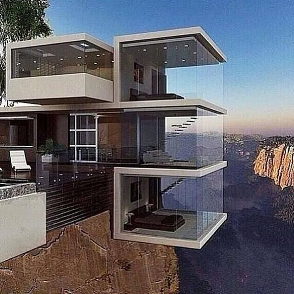 This amazing modern house with part of it hanging over a cliff! OMG!