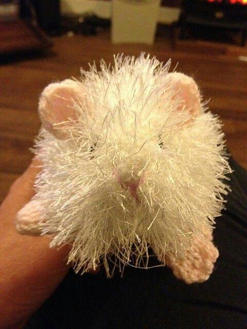 Knitted guinea pig in white eyelash wool