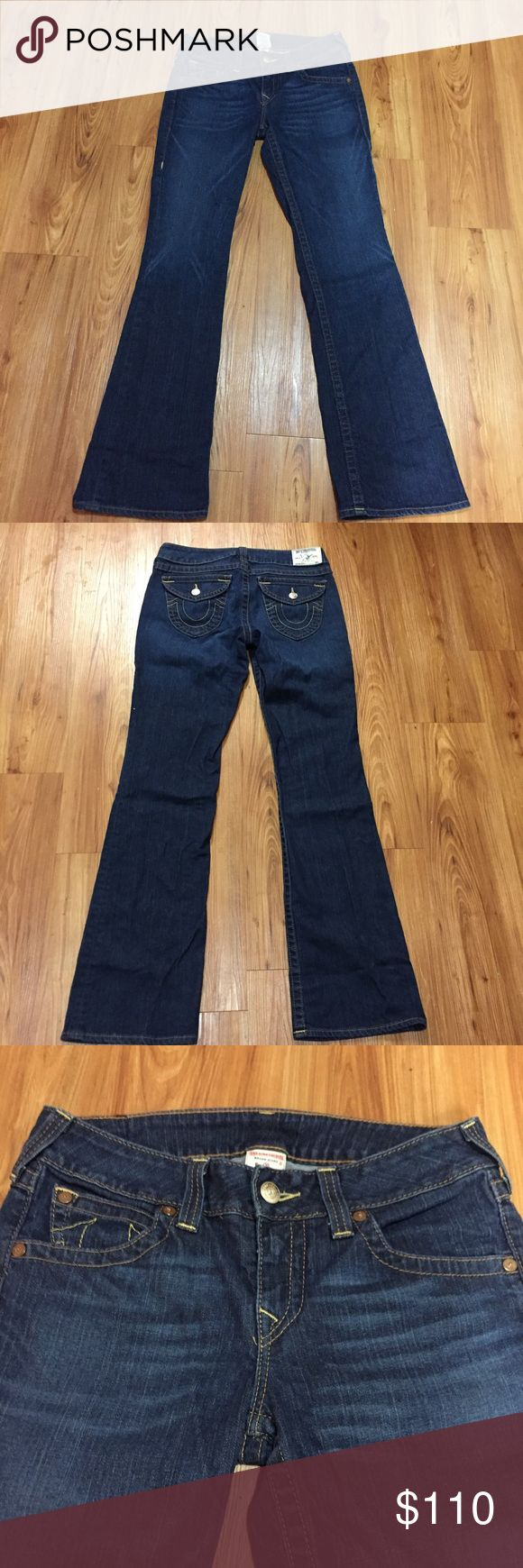 "True Religion Bootcut Jeans Dark rinse True Religion Becky bootcut jeans. Size 31. EUC.  Waist: 34"" Inseam: 34""  Wedding sale! Just ask and I will drop the price 20%. 40% off bundles of 2 or more. Just make an offer for the appropriate discount. True Religion Jeans Boot Cut"