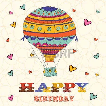 joyeux anniversaire: carte d'anniversaire heureux avec le ballon et les coeurs de l'air chaud. Illustration en format vectoriel