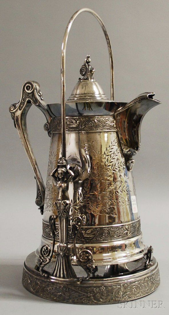 Victorian Aesthetic Movement Presentation Silver-plated Coffeepot on Stand, Taunton Silverplate Company