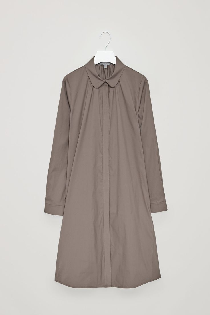 COS image 11 of Shirt dress with gathering detail in Taupe