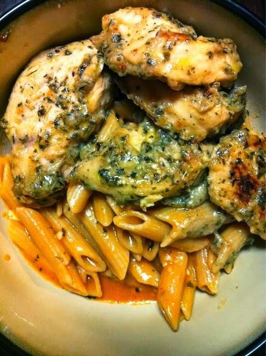 When the Dinner Bell Rings: Garlic Pesto Chicken with Tomato Cream Penne