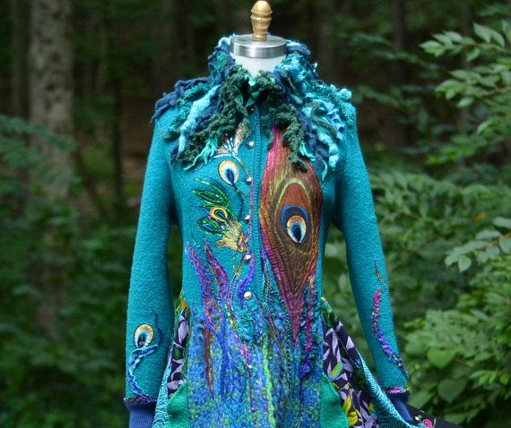 Peacock long sweater COAT eco Fantasy fashion in size
