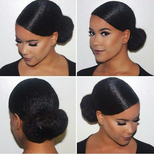 Low Bun Hairstyles For Black Hair Cheveux Afro Mariage Coiffure Chignon Bas Natte Cheveux