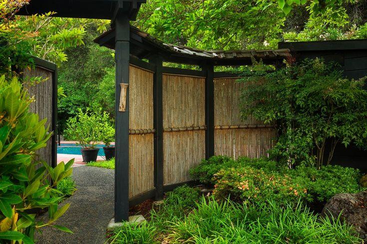 Asian Landscape/Yard with exterior stone floors, Bamboo Habitat Bamboo Fencing, Bamboo fence, Fence, Pathway, Arbor