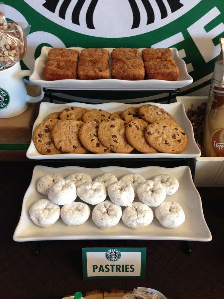 Cookies and donuts at a Starbucks Cafe dessert bar party!  See more party planning ideas at CatchMyParty.com!