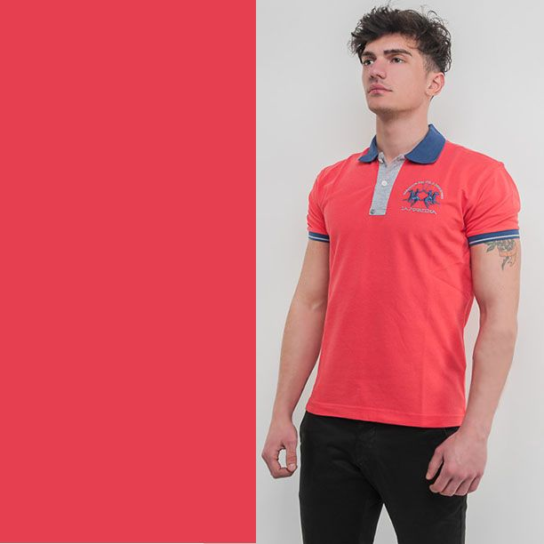 super trendy salmon polo shirt with elegant blue details by Beverly Hills Polo Club