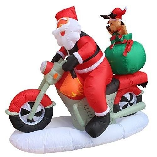 Christmas Santa Reindeer Motorcycle Airblown Inflatable 6 Ft Yard Lighted Decor #easy_shopping08