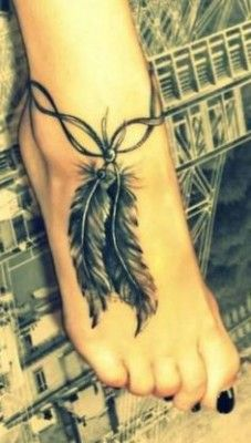 Feather Ankle And Foot Tattoos For Women