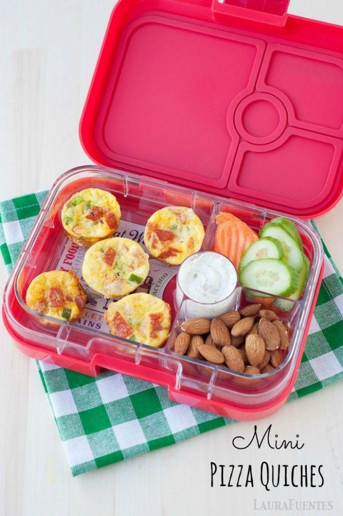 easy to make grain free, gluten free, school lunch idea: mini pizza quiches