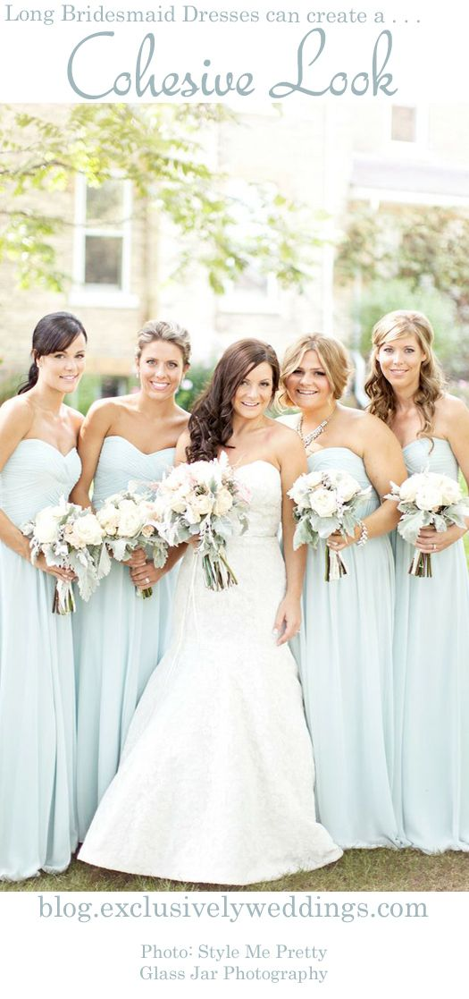 """""""Ten Things You Must Know About Long Bridesmaid Dresses"""" .. read more: http://blog.exclusivelyweddings.com/2014/05/05/ten-things-you-must-know-about-long-bridesmaid-dresses/"""