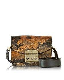 Toni Safari Metropolis - Mini Sac à Bandoulière en Toile Pailletée et Cuir Nappa Multicolore - Furla