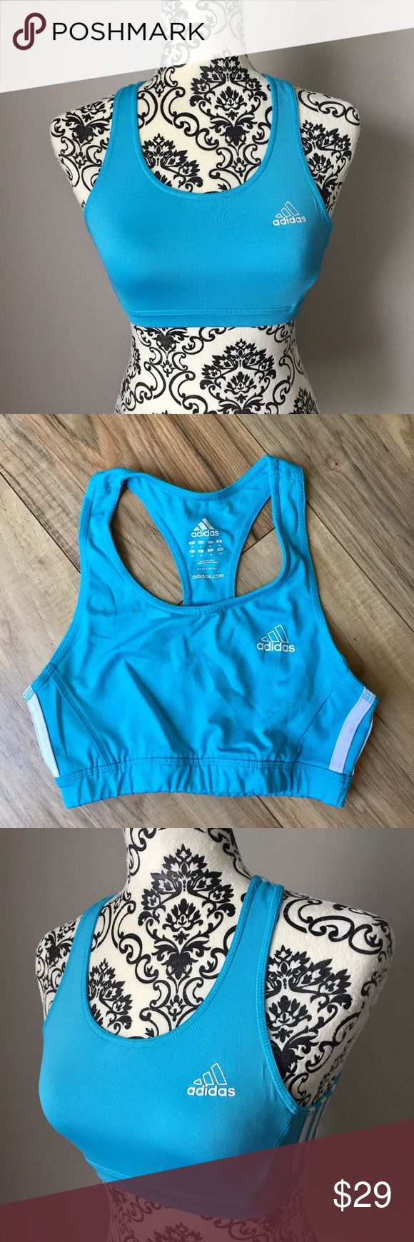 Adidas aqua blue and white sports bra size small Adidas aqua blue and white sports bra. Gently pre-loved with tons of life left and in EUC! Size small is true to size. 94% polyester / 6% spandex gives tons of stretch with some stability. adidas Intimates & Sleepwear Bras