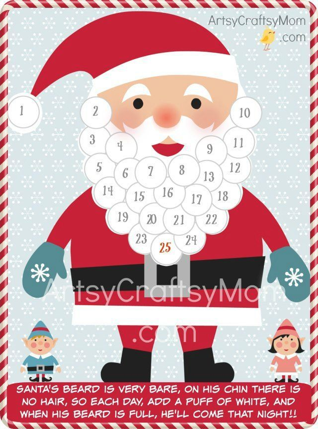 Free Holiday Printable   Santa Advent Calendar and gift tags - Christmas Free Printables  - DIY Printable Advent Calendar to help count down the days till Christmas & Gift tags to print & cut with cute Santa, Snowmen, rudolph & stockings.