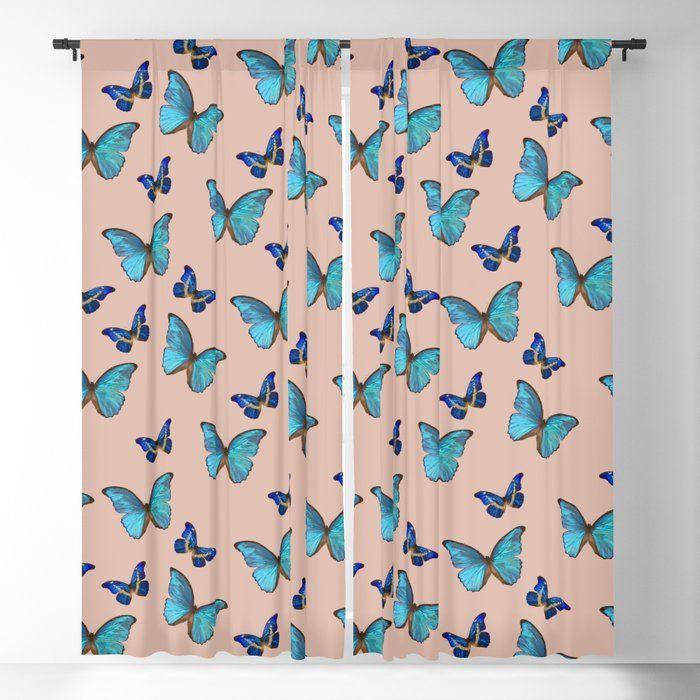 Blue Pale Terracotta Butterfly Glam 1 Pattern Decor Art