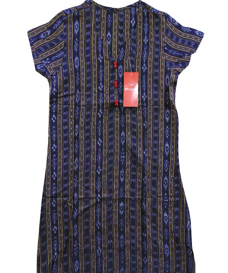 Exclusive Ink Blue Sambalpuri Ikat Cotton Ladies Kurti(2603/D/143) | Boyanika, Odisha, Handloom,Exclusive Ink Blue Sambalpuri Ikat Cotton Ladies Kurti | Boyanika - The Oldest Brand name in Odisha Handwovens