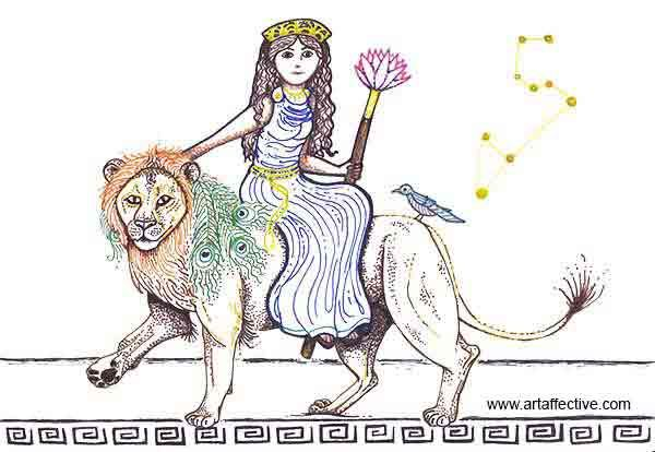"Hera and Nemean the Lion"", Artwork by Fine Artist Monica Gunderson ~  artaffective.com ©Copyright Monica Gunderson - All Rights … 