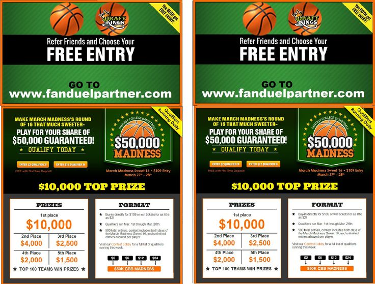 Give Away our FREE Entry into a Fantasy Basketball as a Gift to all possible Participants 1/2 Court Shots 3/4 Court Shot 24-30 Second series of Shots 3 Pointers Half Time Promotions Half-Time Promotion Putting Contests Fundraisers and more 203-831-0600 http://www.hole-in-won.com/Basketball-Contest-Insurance-Prize-Promotions-Sponsors-Teams-Half-Court-Shot.html EVEN Free Basketball Gifts for Entrants