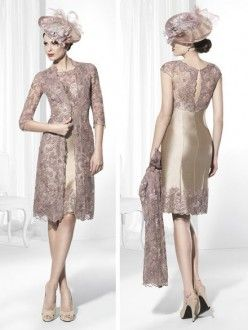 Sheath/Column Scoop Sleeveless Lace Knee-Length Satin Mother of the Bride Dresses