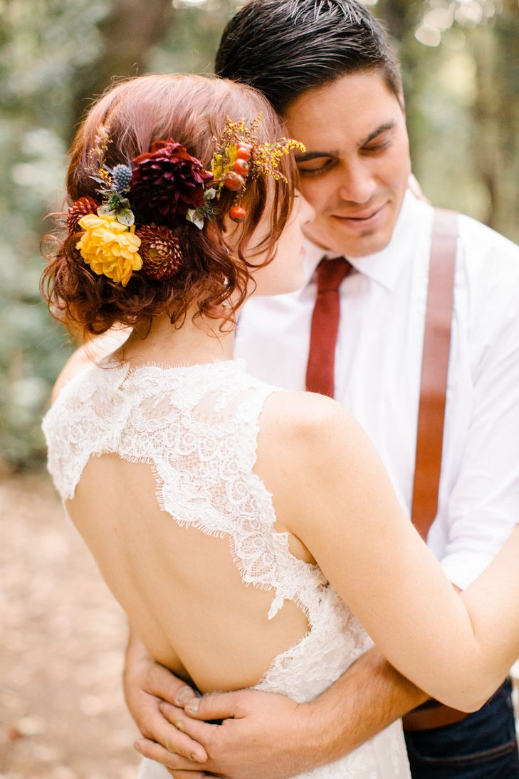 Updo Hairstyle With Wildflowers | Brittrene Photography https://www.theknot.com/marketplace/brittrene-photography-san-francisco-ca-397848 | Amy Fyfe | Marisa Bridals | Angela Perteet | No-Slip Suspenders | Topshop | The Petal Company