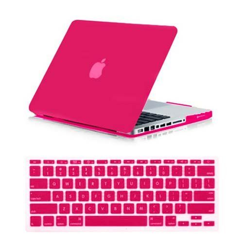 SmackTom 2 in 1 Rubberized Matte Hard Case Cover For Apple MacBook Pro 13 Inch A1278-Hot Pink