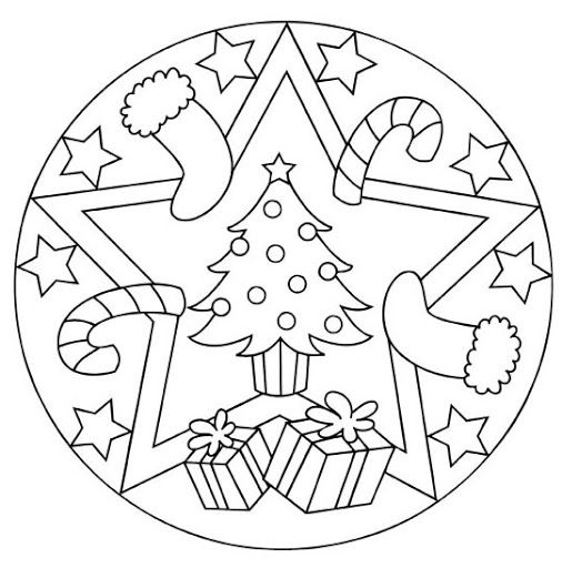 Christmas Coloring Pages For Kindergarten Students : Christmas mandala coloring page for kids crafts and