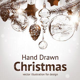 手書きのクリスマス素材 handpainted christmas element vector イラスト素材1