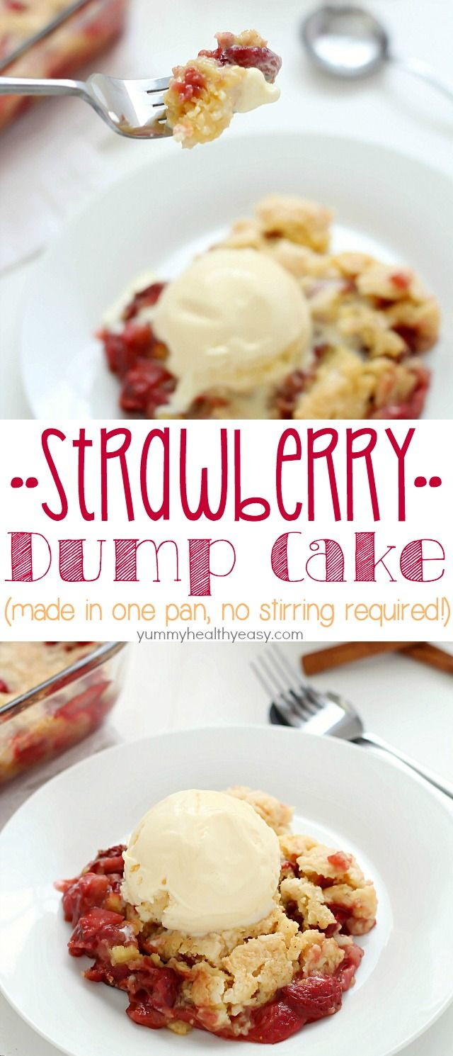 "Strawberry Dump Cake has only a few ingredients and is easily layered aka ""dumped"" in a cake pan and baked. No stirring and no mixing bowl required!! Top with a scoop of ice cream, and you have yourself just about the best dessert ever invented. :)"