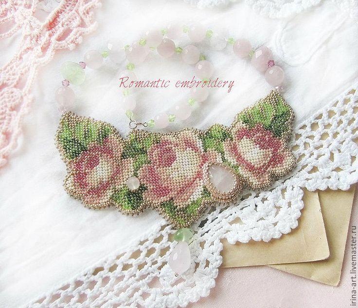 """Купить колье """"pastel"""" - розы, колье из бисера, колье с розами, пастельные цвета, пастельная гамма"""
