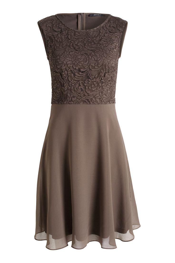 Esprit / Soepele chiffon jurk met kant
