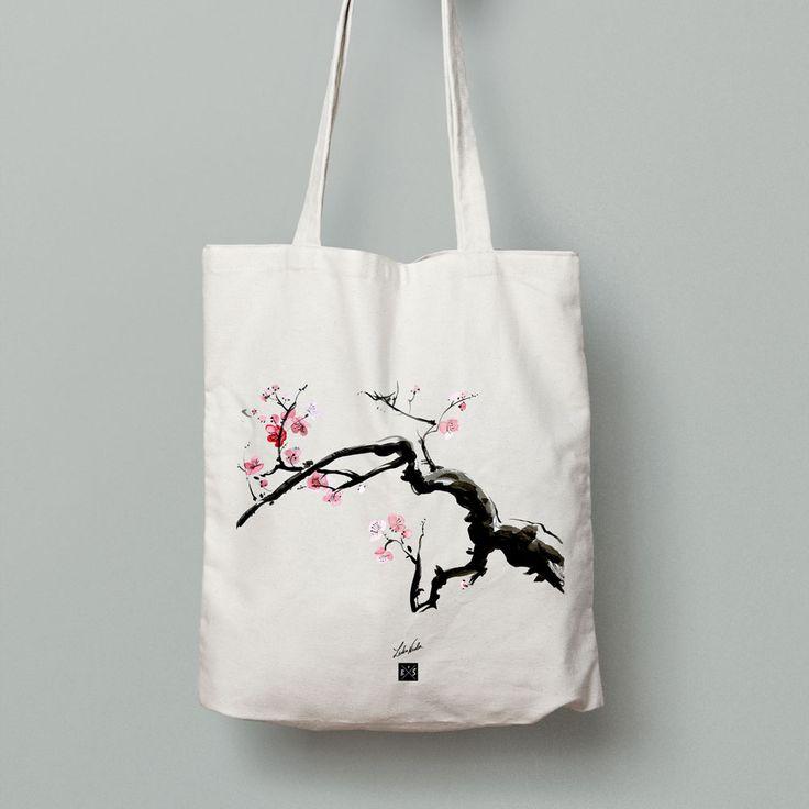 My Sakura painting on cotton bag #lidiaalinanicolae.ro #Sakura #bag #art #painting #asian