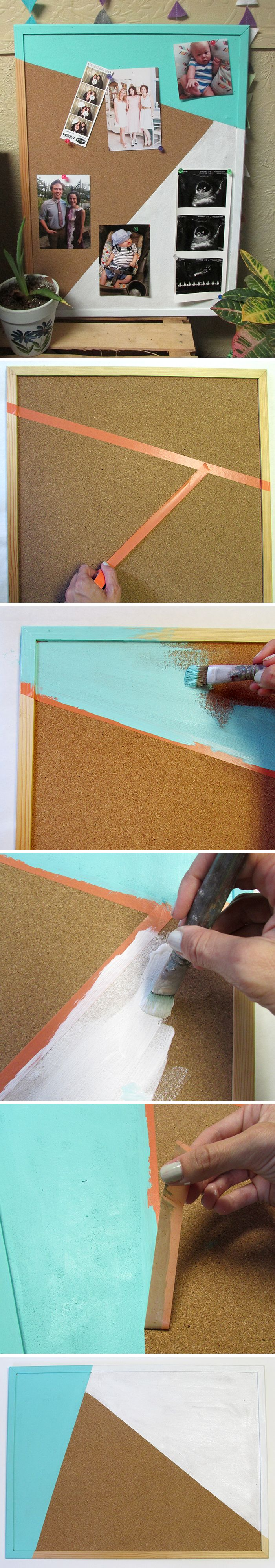 geometric corkboard diy