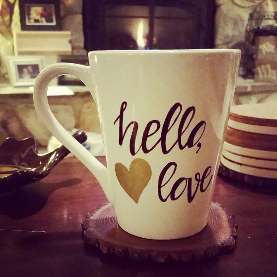 Hello, love! | White Coffee Cup Mug by TheLovelyGlassJar on Etsy #mugofthedayTLGJ