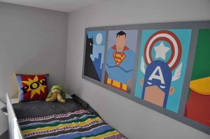 Batman And Spiderman Inspired Bedroom Decorating Ideas For Children's Bedroom : Modern Superhero Themed Kids Room Decor For Boys With Loft Bed Also Batman Captain America Superman Wall Art Also Gray Wall Paint Color