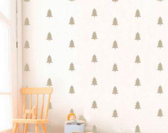 Bianco e nero bambini camera design Pine Tree di KidODesignStudio