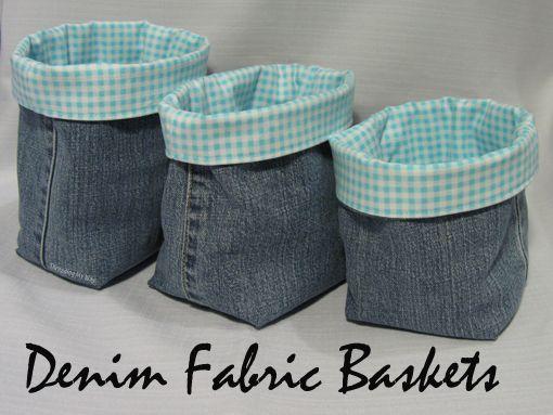 Threading My Way: Denim Fabric Baskets...
