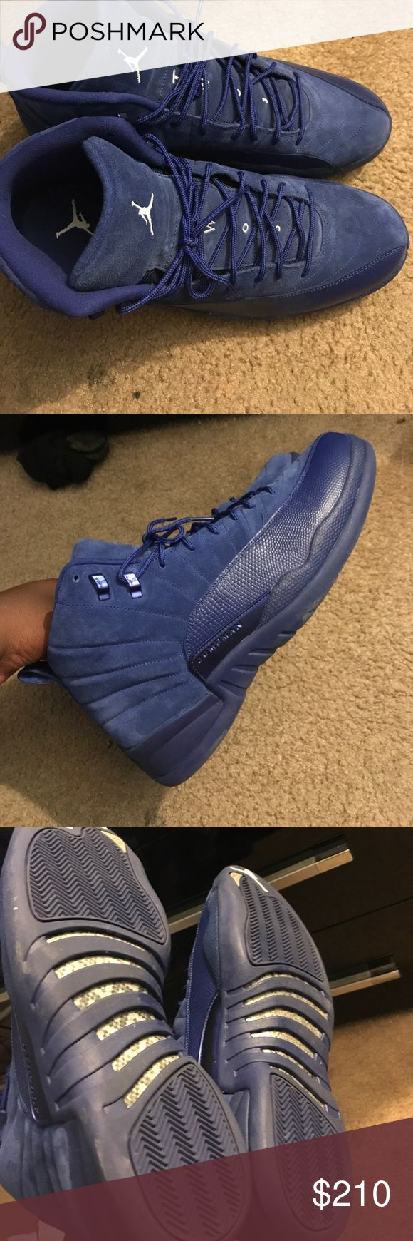 Air Jordan retro 12 blue All blue. Vnds. Only worn once. Very hard to find Jordan Shoes Sneakers