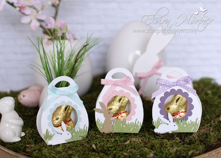 Curvy Keepsake Box by Stampin Up - Small Easter wrapping for a gold bunny