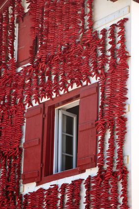 drying red peppers in Espelette, Basque Country,