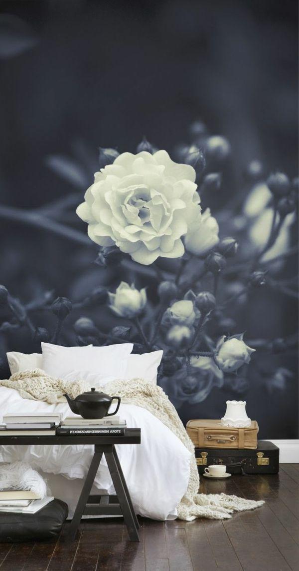 fototapete rosen schlafzimmer schwarz wei - Fototapete Grau Wei