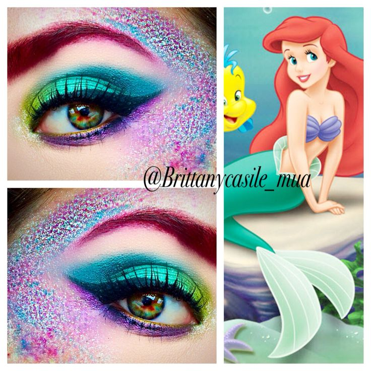 """The Little Mermaid inspired Halloween Makeup @brittanycasile_mua using Urban Decay Vice 3 & Electric Palette Details: Inner corner: Thrash- Electric palette Lid: Dragon on lid & Freeze through crease, on the Outer V I mixed freeze and heroine and also blended into the crease to deepen it.- Vice 3 Lower lash line: Vanity - Vice 3 & Urban - Electric Palette for the """"scales"""" Savage & Urban from the Electric Palette, Dragon & Freeze from the Vice 3 palette Glitter is Wet N Wild Fantasy Secrets"""