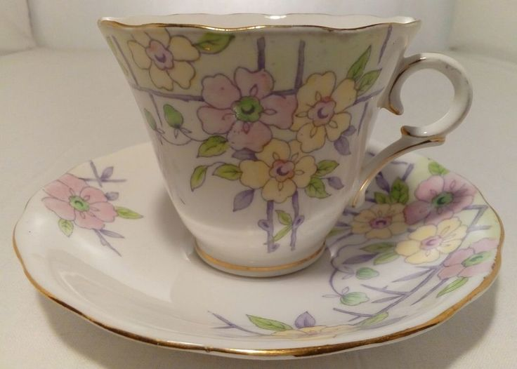 Colcough Tea Cup And Saucer - Purple And Yellow With Colourful Bouquets