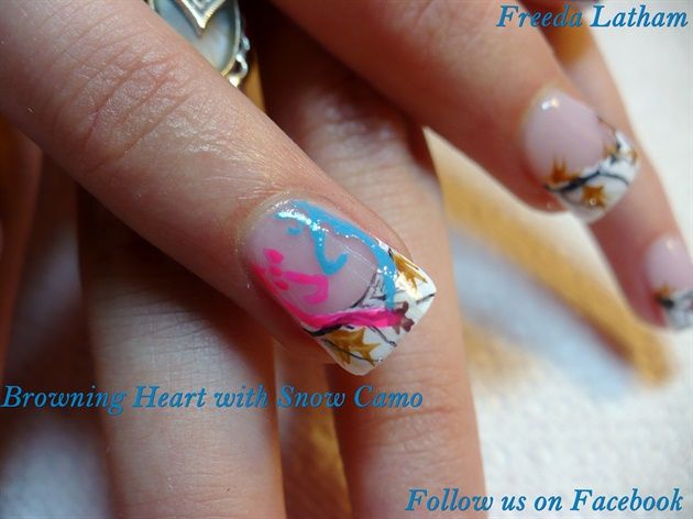 Best 25 camo nail art ideas on pinterest diy camo nails camo browning heart with snow camo nail art gallery prinsesfo Image collections