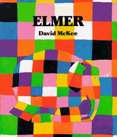 "Elmer by David McEee  ""Elmer the elephant is bright-colored patchwork all over. No wonder the other elephants laugh at him  If he were ordinary elephant color, the others might stop laughing. That would make Elmer feel better, wouldn't it? The surprising conclusion of David McKee's comical fable is a celebration of individuality and the power of laughter."""