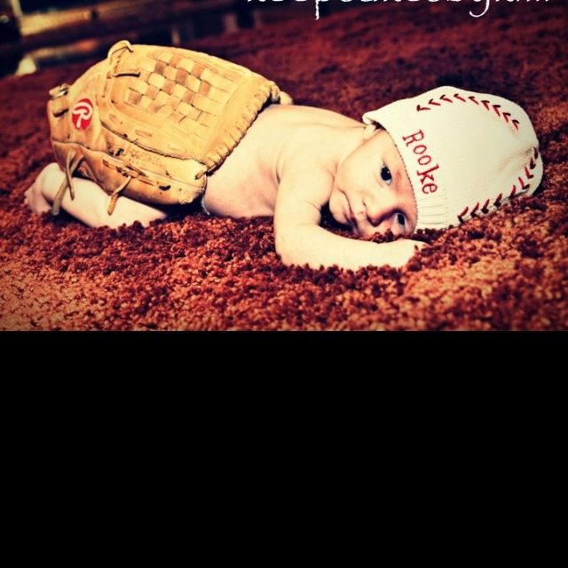 Adorable baseball picture of newborn