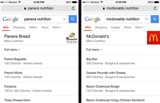Want the nutrition facts for Panera, McDonalds, or another chain? Now, Google will make it easy to find that info automatically.